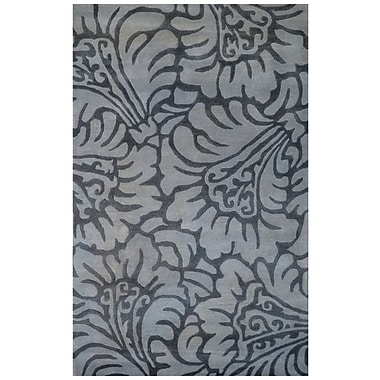 Eastern Weavers Wool Floral Hand-Tufted Gray Area Rug; 5' x 8'