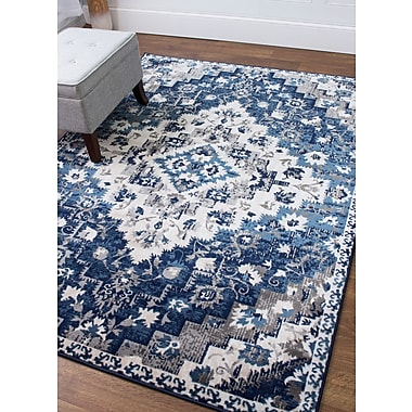 Bungalow Rose Rosie Blue Area Rug; 5'3'' x 7'3''