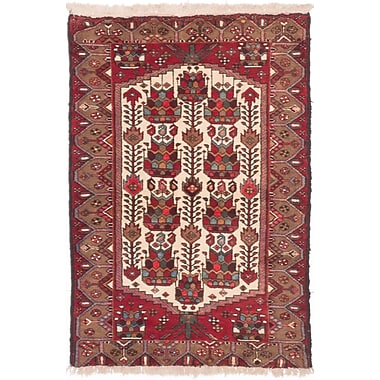ECARPETGALLERY Koliai Hand-Knotted Red/Beige Area Rug