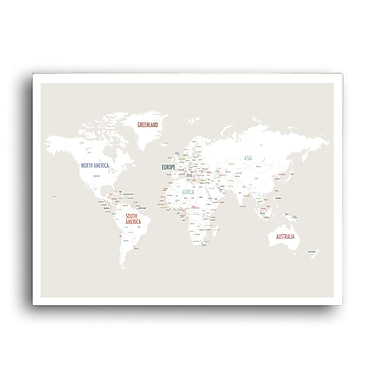 Global Artisan Kids Collection 'World Map' Graphic Art on Wrapped Canvas; 24'' H x 36'' W x 1.5'' D