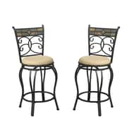 Poundex Bobkona Adney 24'' Swivel Bar Stool (Set of 2)