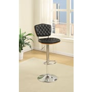 Poundex Bobkona Lyssa Adjustable Height Bar Stool (Set of 2); Black