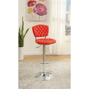 Poundex Bobkona Lyssa Adjustable Height Bar Stool (Set of 2); Red
