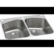 Elkay Harmony 33'' x 22'' Stainless Steel Equal Double Bowl Dual Mount Kitchen Sink; 2 Holes, Right