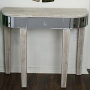 Heather Ann Elenor Mirrored Console Table; White Wash