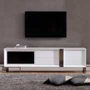 B-Modern Entertainer TV Stand; White & Stainless Steel
