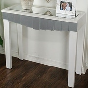 Heather Ann Catherine Mirrored Console Table; Antique White