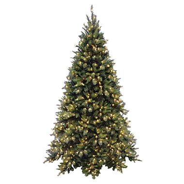 Tiffany Fir 7.5' Green Artificial Christmas Tree w/ 700 Pre-Lit Clear Lights w/ Stand