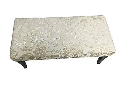 HD Couture Fan Damask Bedroom Bench; Cream