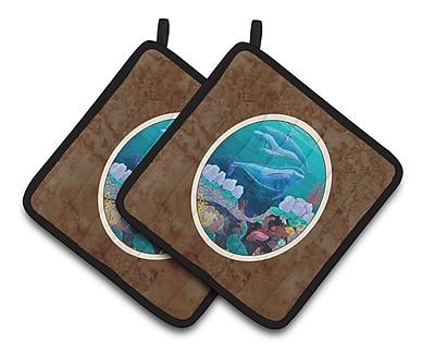 East Urban Home Dolphin Familty Swimming Potholder (Set of 2)
