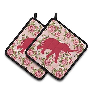 Caroline's Treasures Elephant Shabby Elegance Roses Potholder (Set of 2)