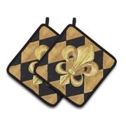 Caroline's Treasures Black and Gold Fleur de lis New Orleans Potholder (Set of 2)