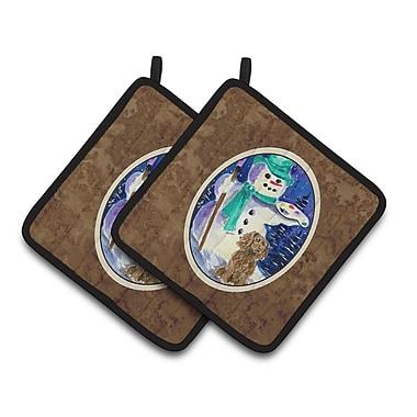 Caroline's Treasures English Springer Spaniel w/ Artist Snowman Potholder (Set of 2)