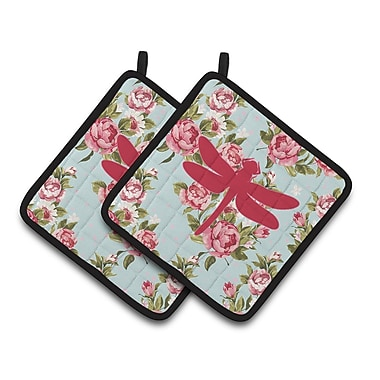 East Urban Home Dragonfly Floral Potholder (Set of 2)