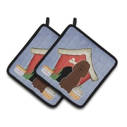 Caroline's Treasures Dog House Irish Water Spaniel Potholder (Set of 2)