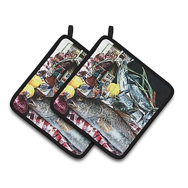 Caroline's Treasures Fish and Beers from New Orleans Potholder (Set of 2)