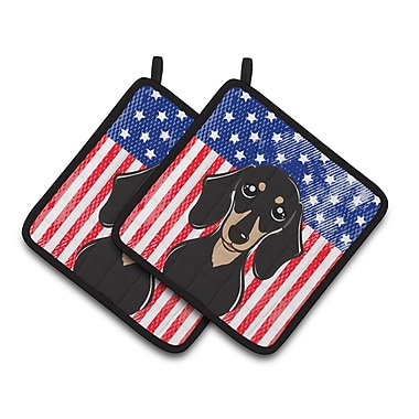 Caroline's Treasures American Flag and Smooth Dachshund Potholder (Set of 2)