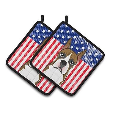 Caroline's Treasures American Flag and Boxer Potholder (Set of 2)