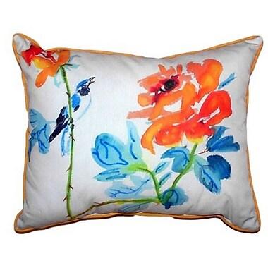 Betsy Drake Interiors Bird & Roses Indoor/Outdoor Lumbar Pillow; Small