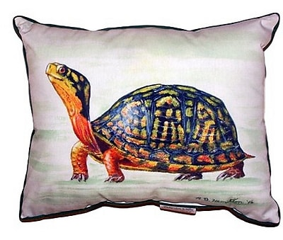 Betsy Drake Interiors Happy Turtle Indoor/Outdoor Lumbar Pillow; Extra Large