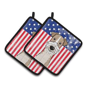 Caroline's Treasures American Flag and Wire Haired Fox Terrier Potholder (Set of 2)