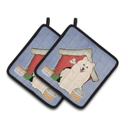 Caroline's Treasures Dog House Samoyed Potholder (Set of 2)