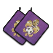 Caroline's Treasures Tiger Fleur De Lis Soccer Potholder (Set of 2)