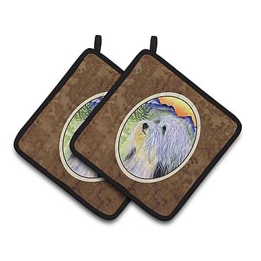 East Urban Home Bearded Collie w/ Mountain Potholder (Set of 2)