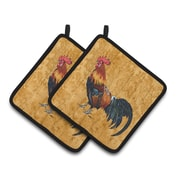 August Grove Jaiden Rooster Brown Potholder (Set of 2)