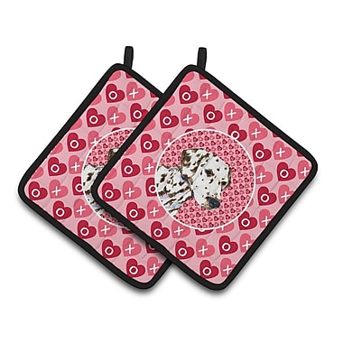 East Urban Home Dalmatian Hearts Love and Valentine's Day Square Portrait Potholder (Set of 2)