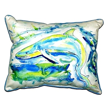 Betsy Drake Interiors Shark Outdoor Lumbar Pillow; Large