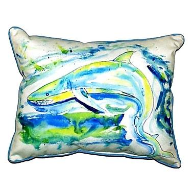 Betsy Drake Interiors Shark Outdoor Lumbar Pillow; Extra Large