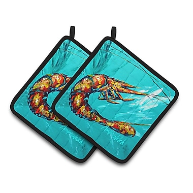 Caroline's Treasures Shrimp Splish Splash Potholder (Set of 2)