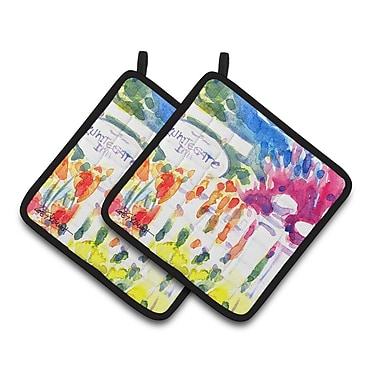 Caroline's Treasures Whitegate Inn Fence Houses Potholder (Set of 2)
