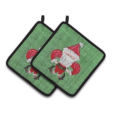 Caroline's Treasures Christmas Santa Fleur de Lis Potholder (Set of 2)