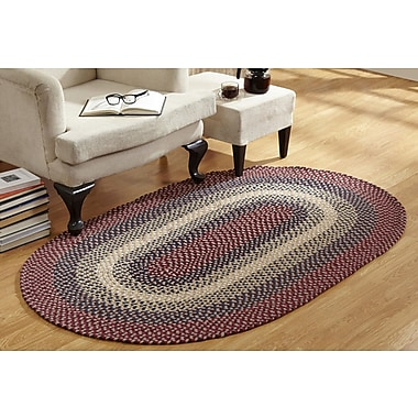 August Grove Monnie Braided Cranberry Area Rug; Rectangle 7'4'' x 9'4''