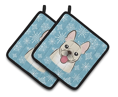 Caroline's Treasures Snowflake French Bulldog Potholder (Set of 2)