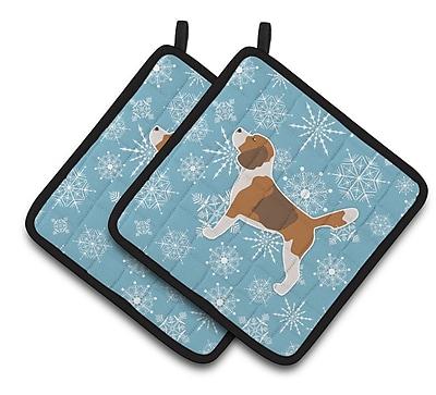 Caroline's Treasures Winter Snowflakes Beagle Potholder (Set of 2) WYF078279732619