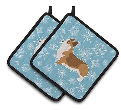 Caroline's Treasures Winter Snowflakes Corgi Potholder (Set of 2) WYF078279732652