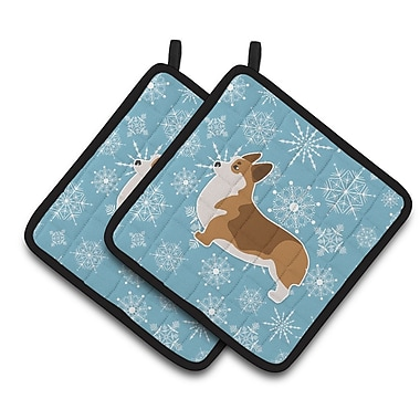 Caroline's Treasures Winter Snowflakes Corgi Potholder (Set of 2)