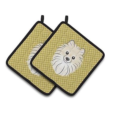 Caroline's Treasures Checkered Pomeranian Potholder (Set of 2)