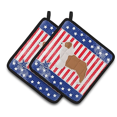 Caroline's Treasures Patriotic USA Australian Shepherd Dog Potholder (Set of 2)