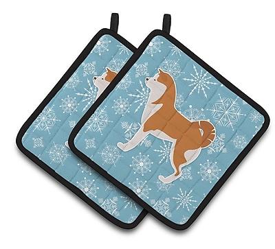 Caroline's Treasures Winter Snowflakes Akita Potholder (Set of 2) WYF078279732494