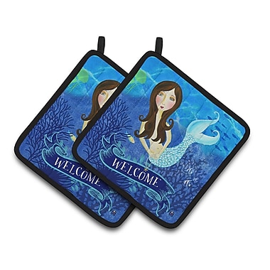 Caroline's Treasures Welcome Mermaid Potholder (Set of 2)