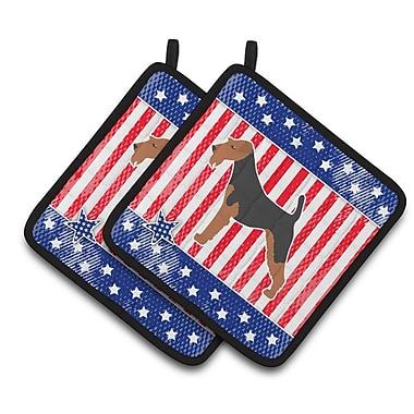 Caroline's Treasures Patriotic USA Airedale Terrier Potholder (Set of 2)