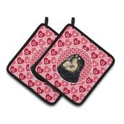 Caroline's Treasures Tibetan Mastiff Hearts Love Valentine's Day Potholder (Set of 2)