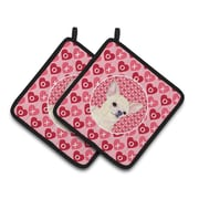 The Holiday Aisle Chihuahua Hearts Love and Valentine's Day Pink Portrait Potholder (Set of 2)