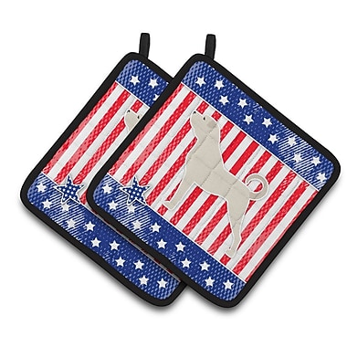 Caroline's Treasures Patriotic USA Anatolian Shepherd Potholder (Set of 2)