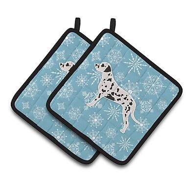 Caroline's Treasures Winter Snowflakes Dalmatian Potholder (Set of 2)