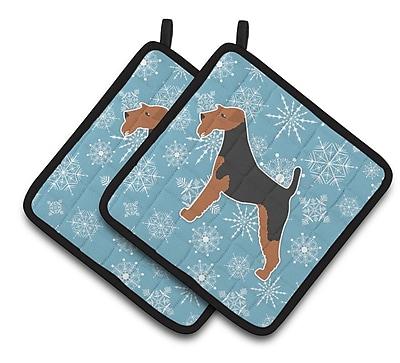 Caroline's Treasures Winter Snowflakes Welsh Terrier Potholder (Set of 2)